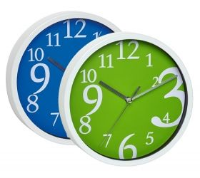 wall clock available in green and blue