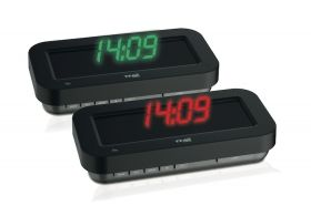 'HOLOclock' radio controlled clock with 3-D effect available in green and red