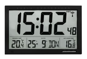 Radio-contolled clock with outdoor and indoor temperature