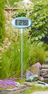 'Orion' digital design garden thermometer