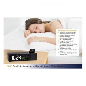 SHOW Radio-controlled projection alarm clock with indoor climate  / Kat.60.5014