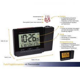 Radio-controlled projection alarm clock with temperature / Kat.№60.5016