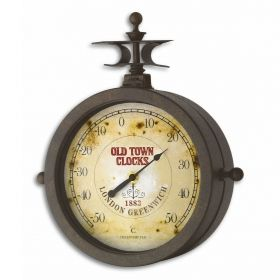 Wall Clock and Thermometer NOSTALGIE OLD TOWN CLOCK® / Kat.№ 60.3011