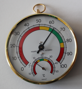 Analogue Thermo-Hygrometer with Brass Ring / Kat.№45.2027